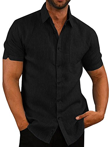 Pengfei Mens Short Sleeve Shirts Button Down Linen Cotton Fishing Tees Spread Collar Plain Summer Shirts Black