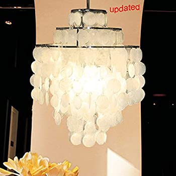 Image of Home Improvements Aero Snail Updated 3-Light Round Stainless Steel Frame Chandelier with Natural White Capiz Seashells DIY Pendant Light Ceiling Fixture for Living Dinning Room Bedroom