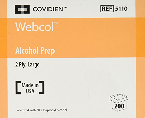 Kendall 5110 Webcol Sterile Alcohol Prep Pads, Large, 2-Ply, 200 per Box
