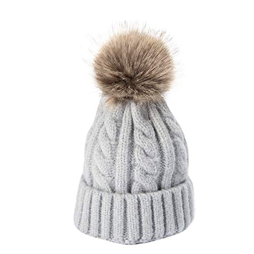 (Gbell Baby Winter Knitted Hats Detachable Pom Pom Ball, Baby Infant Warm Thickening Plus Velvet Hat Warm Soft Caps Beanies for Toddler Boys Girls)