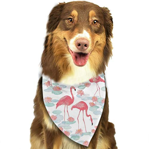 Pet Scarf Dog Bandana Bibs Triangle Head Scarfs Watercolor Flamingo Accessories for Cats Baby Puppy]()