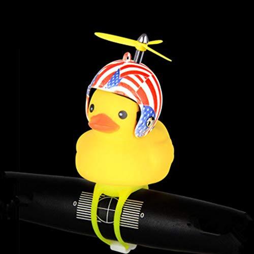 (Sodoop Bike Horn,Cute Cartoon Yellow Little Duck Shape Bicycle Lights Bell,Squeeze Horns for Toddler Children & Adults Cycling Light Rubber Duck Helmet Toys (D))