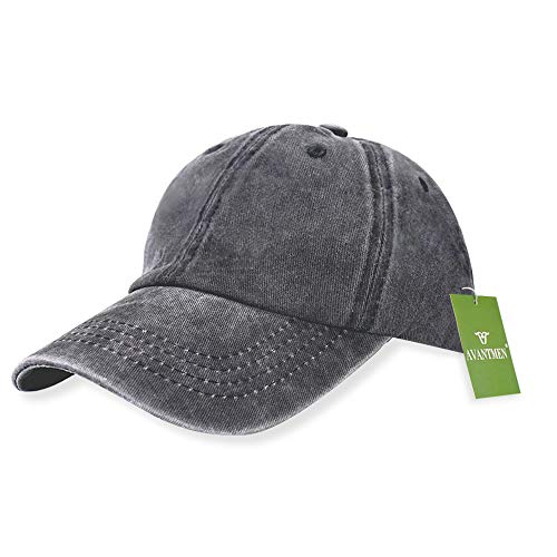 AVANTMEN Kids Baseball Cap Distressed Washed Sunhat Toddlers Little Boys Girls 100% Cotton 2-7 Years (1 Pack Grey)