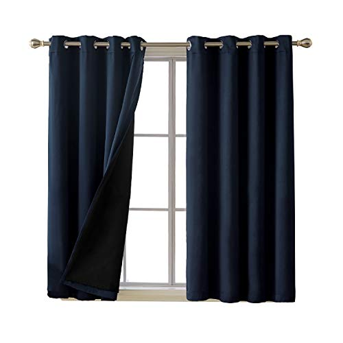 (Deconovo Total Blackout Curtains Solid Thermal Insulated Room Darkening Grommet Faux Silk Satin Curtains for Bedroom 52 x 54 Inch Navy Blue 2)