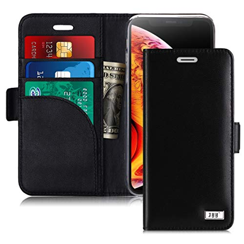 FYY [Genuine Leather] Wallet Case for iPhone Xs (5.8) 2018/iPhone X/10 2017, Handmade Flip Folio Wallet Case with Kickstand Card Slots Magnetic Closure for iPhone Xs (5.8) 2018/iPhone X/10 Black