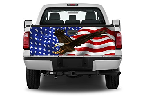 Amer Flag Eagle #3 Tailgate Wrap Vinyl Graphic Decal Sticker Wrap ()