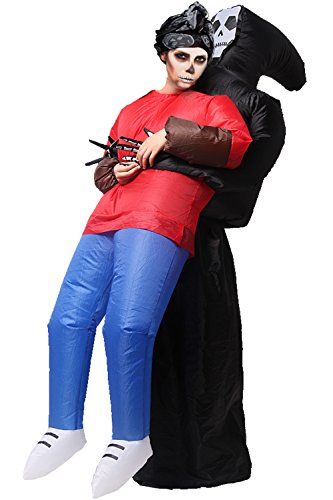 Wacky Waving Tube Man Costume (Inflatable Clothes Horrible Skeleton Holding People Clothes for Halloween Parties Adult Women and Men)