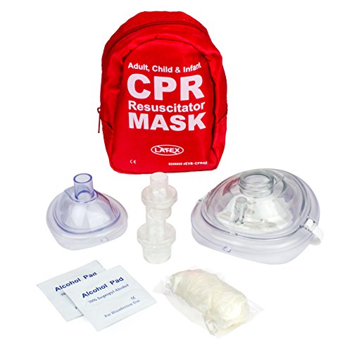 Aid Gloves First (Ever Ready First Aid Adult and Infant CPR Mask Combo Kit with 2 Valves (With Pair of Nitrile Gloves & 2 Alcohol Prep Pads))
