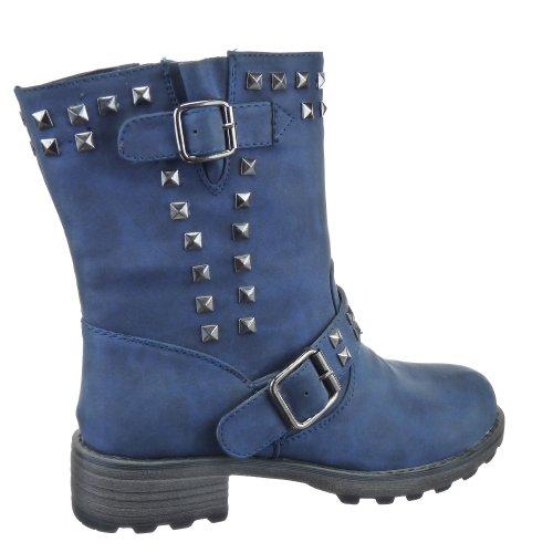 Kickly - Chaussure Mode Bottine Botte Cavalier - Motard - Western montante femmes clouté carré Talon bloc 4 CM - Intérieur textile - Bleu
