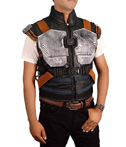 F&H Men's Synthetic Leather Avengers Black Panther Erik Killmonger Michael B. Jordan Vest XS Multi by Flesh & Hide