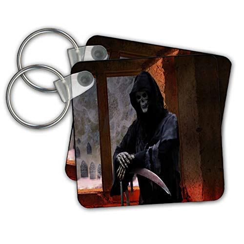 Sandy Mertens Halloween Designs - Grim Reaper the Spirit of Death is Waiting Inside, 3drsmm - Key Chains - set of 2 Key Chains (kc_290222_1)