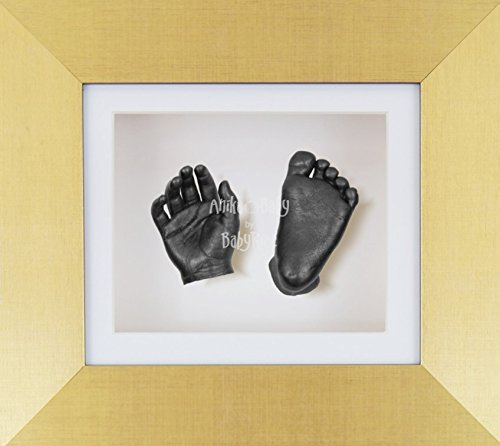 BabyRice 3D Baby Boy Casting Kit Brushed Gold Frame Pewter Foot Casts by BabyRice