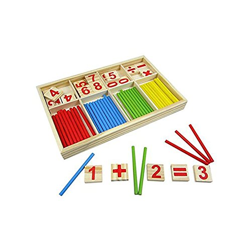 SODIAL Digital Game Wooden Sticks Montessori Math Intelligence Preschool Educational Toy for Children Teaching Aid Sets 156148