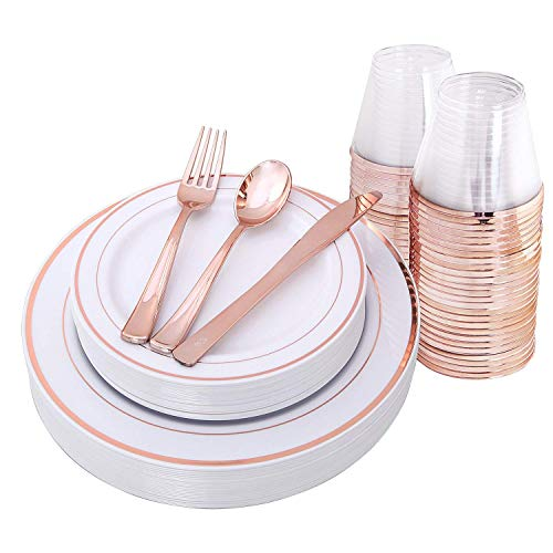 BLACK SWAN 150 pcs Rose Gold Plates & Plastic Silverware & Rose Gold Cups, Disposable Dinnerware/Cutlery/Party Tableware for 25 Guest