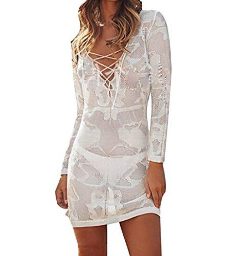 Bestyou® Women's String V-Neck Long Sleeve Tunic Crochet Cover Up (White) (Cover Crochet Long Up Sleeve)