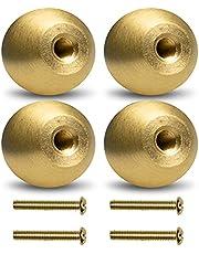 KIMI-HOSI 4 set Kleine Kast Deurknoppen met Schroeven mini Massief Messing Trekgreep Lade Kast Handgrepen Gouden Kast Knoppen Voor Keuken Slaapkamer Badkamer - Puur Koper 17,5 mm