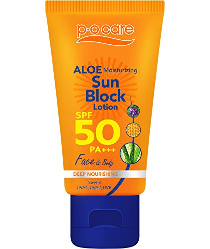 Alcohol Free & Fragrance Free Non Sticky Water Resistant P O Care Aloe Moisturizing Sport Performance Broad Spectrum Sunblock Lotion for Face and Body SPF 50 PA +++ 45 ML White