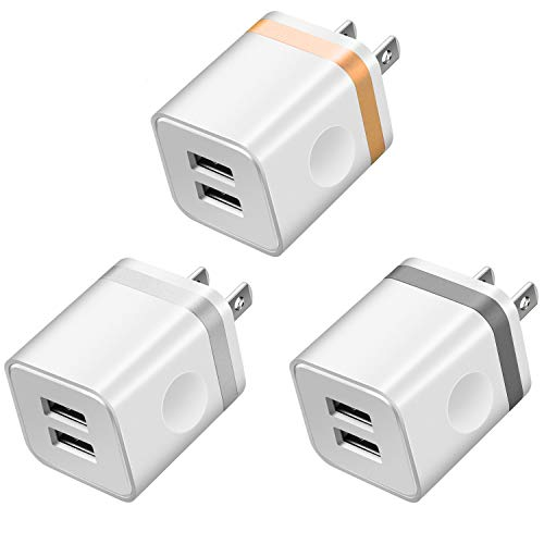 LEEKOTECH USB Wall Charger, [UL Certified] 3-Pack 2.1A USB Plug Dual Port Power Adapter Charging Block Cube for iPhone X 8 7 6 Plus 4 5S, iPad, Samsung Galaxy S5 S6 S7 Edge, Android Cell Phone by LEEKOTECH (Image #1)