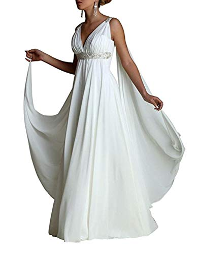 Ethel Women's V-Neck Chiffon Greek Style Crystal Wedding Dress Formal Party Gown White
