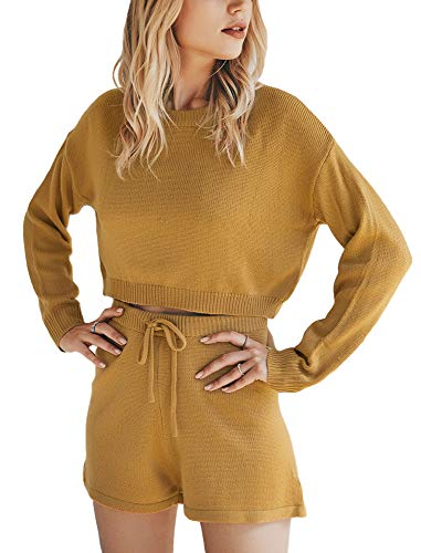 MissyLife Women's Casual Crew Neck Long Sleeve Pullover Sweater Tops Drawstring Shorts Knit Two Piece Sweatsuit Outfits Sets