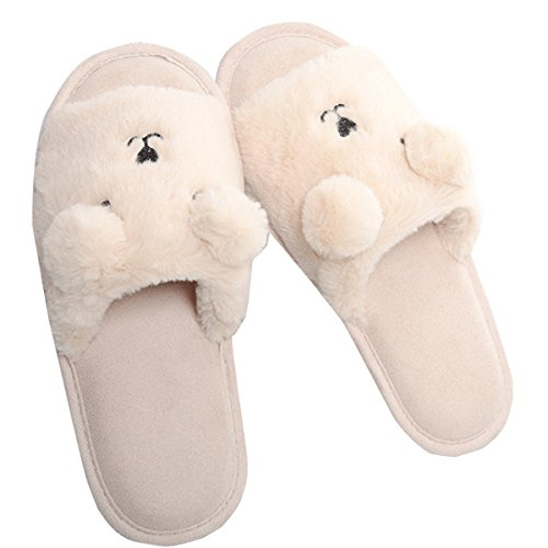 Beige Plush Open VFDB Fluffy Cute Toe Clog Slippers Slippers Shoes Dearfoam House Indoor gqwIwXx7rF