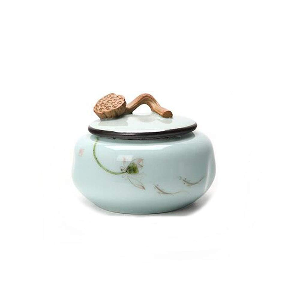 bluee Pet Casket, Close Relatives and Dear Pet Crematorium, Elite Souvenirs  4.4 Inches in Diameter (Ceramic Kiln Light bluee Lotus Seeds) (color   bluee)