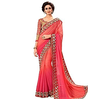 dcddbbad9eb88f OyeLook Peach Colour Georgette Mirror Work Saree With Printed Blouse ...