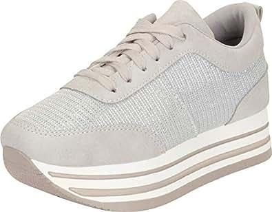 Cambridge Select Women's Glitter Lace-Up Chunky Striped Flatform Fashion Sneaker Silver Size: 5.5