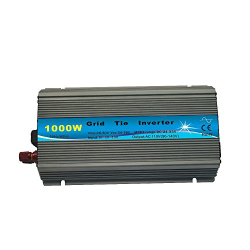 EACO TECH 1000W Grid Tie Inverter with MPPT Function Pure Sine Wave On Grid Power Inverter for 18V 24V 36V Solar Panel (20-45VDC, 90-140VAC) by EACO TECH