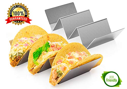 - 2 Pack Stainless Steel Taco Holder Tray, Taco Truck Stand Holds Up To 3 Tacos Each as Plates, Use as a Shell Baking Rack - Safe for Dishwasher, Oven, and Grill, Holders Size 8