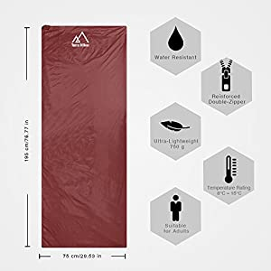 Terra Hiker Ultra-Lightweight Sleeping Bag, Campact Sleeping Bag, 3-Season Sleeping Bag with Extended Length and Compression Bag for Camping