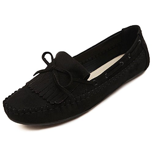 D2c Beauty Mujeres Bow Accent Gamuza Mocasín Slip-on Loafers Negro