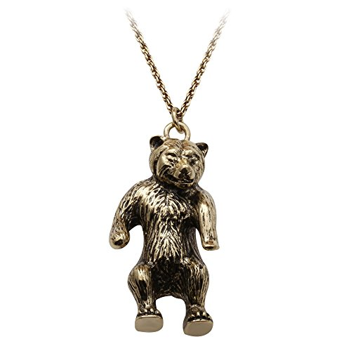 SENFAI Standing Bear Necklace in Solid Bronze Grizzly Bear pendant Necklace Totem Bear Charm