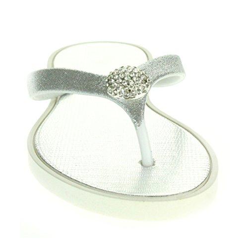 Mujer Señoras Cristal detallado Toe Post Cada día Ligero Casual Confort Ponerse Plano Sandalias Zapatos Tamaño Plata