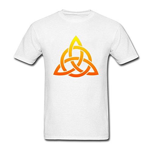 Men's Celtic Trinity Knot Cross Round Collar Tshirts White S