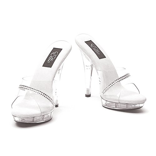 Ellie Shoes Women's 5 Inch Clear Sandal with Rhinestones (Clear;12) (Clear Inch Mule 5)