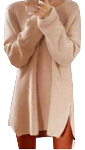 Grandes De ter Su Espiga Manga Vestido De Redondo Cuello La De De Larga Ocasional Flojo Ajuste De Las Mujeres De Albaricoque OFE7x