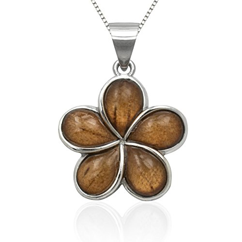 Wood And Sterling Silver Jewelry Box (Sterling Silver Koa Wood Plumeria Necklace Pendant with 18