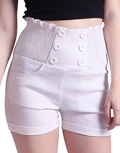 (HDE Women's High Waisted Sophisticated Front Button Trendy Vintage Sailor Shorts)