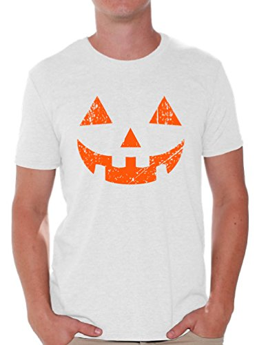 Awkward Styles Men's Jack O' Halloween Pumpkin T shirts Tops Halloween Horror Funny Tee White M