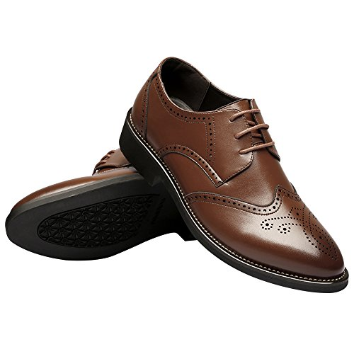 US9 Toe Shoes Brogue Leather Mens Oxfords Pointed British Dress Style Fashion 856 rismart Brown gXAOqX