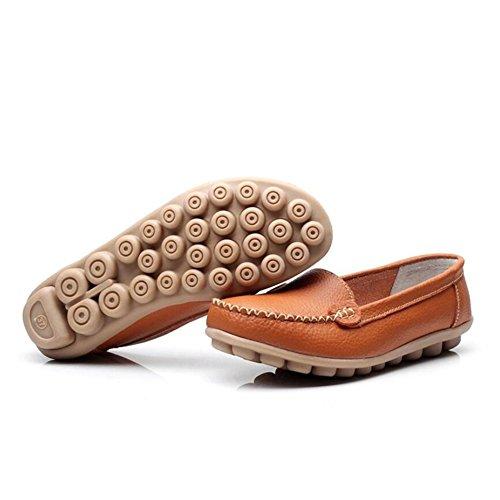SHINIK Zapatos de mujer Cuero Primavera Otoño Comfort Talón plano Para Casual Mamá Slip-Ons y Mocasines Zapatos de conducción Do