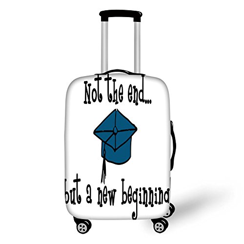 (Travel Luggage Cover Suitcase Protector,Graduation Decor,Not End But Beginning Motivational Phrase Graduate Cap Mortarboard Decorative,Black Blue White,for Travel)