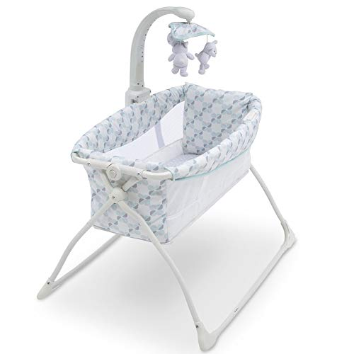 41nPheeUvpL - Delta Children Deluxe Activity Sleeper Bedside Bassinet - Folding Portable Crib For Newborns, Windmill