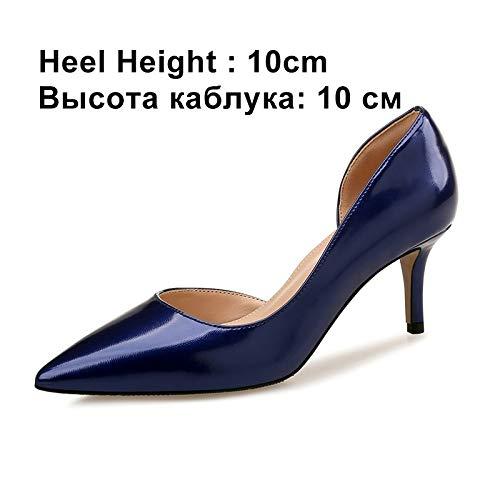10cm Piece Femmes Talons Pointu Mariage Pompes Two Blue De Noce Bureau Hauts Toe Dames Printemps Chaussures Automne Pingxiannv Femme UqTdUBw