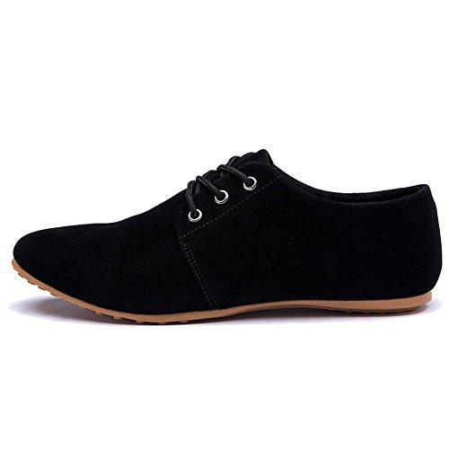 para Vestir Minetom Hombre Comodidad Boda Zapatos de Con Negro Zapatilla Estilo Cordones de Baja Negocios Cuero de Planos de Británico Mocasines AAwqTr5