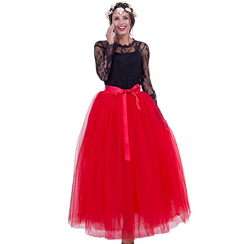 Maxi Long Tutu Tulle Skirt For Women Floor Length 7 Layers Pleated Bridesmaid Skirts(Red)