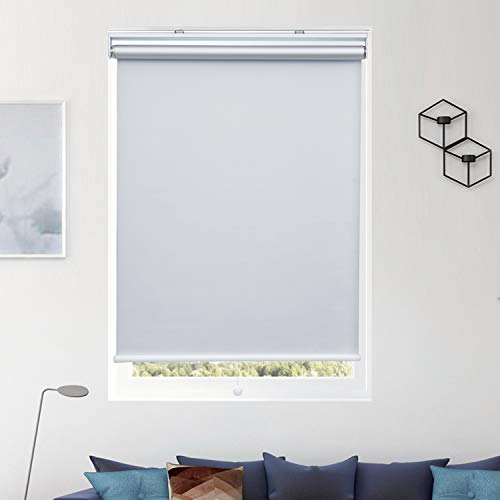 Donutse 34″ W x 72″ H White Blackout Roller Shades and Blinds for Window and Door Spring Systerm Design Cordless Shades for Home and Office
