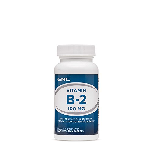 GNC Vitamin B2 100 MG, Essential Nutrient for Metabolism - 100 Vegetarian Tablets