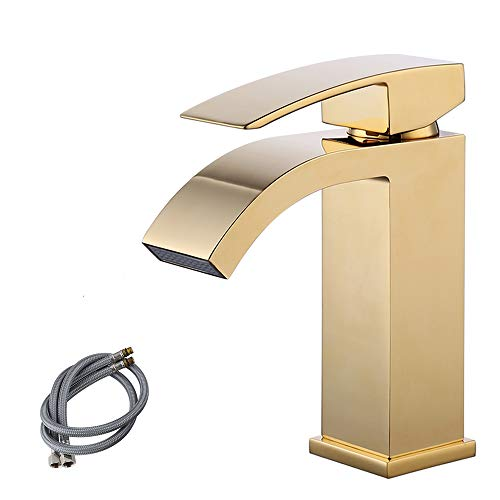 KES cUPC NSF Certified Brass Lead-Free Waterfall Vanity Sink Faucet with Rectangular Spout for Lavatory Single Hole, Titanium Gold, L3109ALF-4